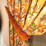Fabric shower curtain w/contrast tieback